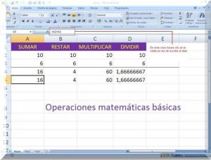 Características la hoja de cálculo